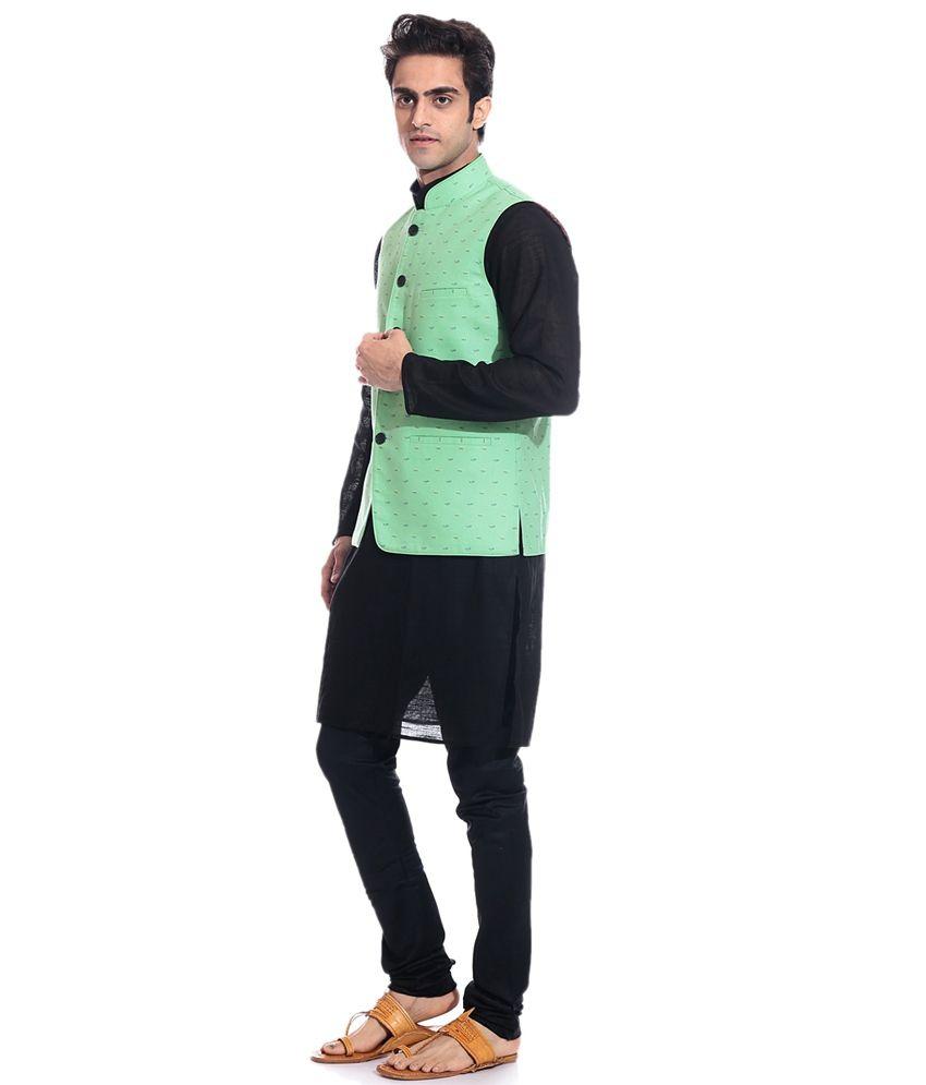Tag 7 Black Kurta Pyjama With Green Jacket Buy Tag 7 Black Kurta