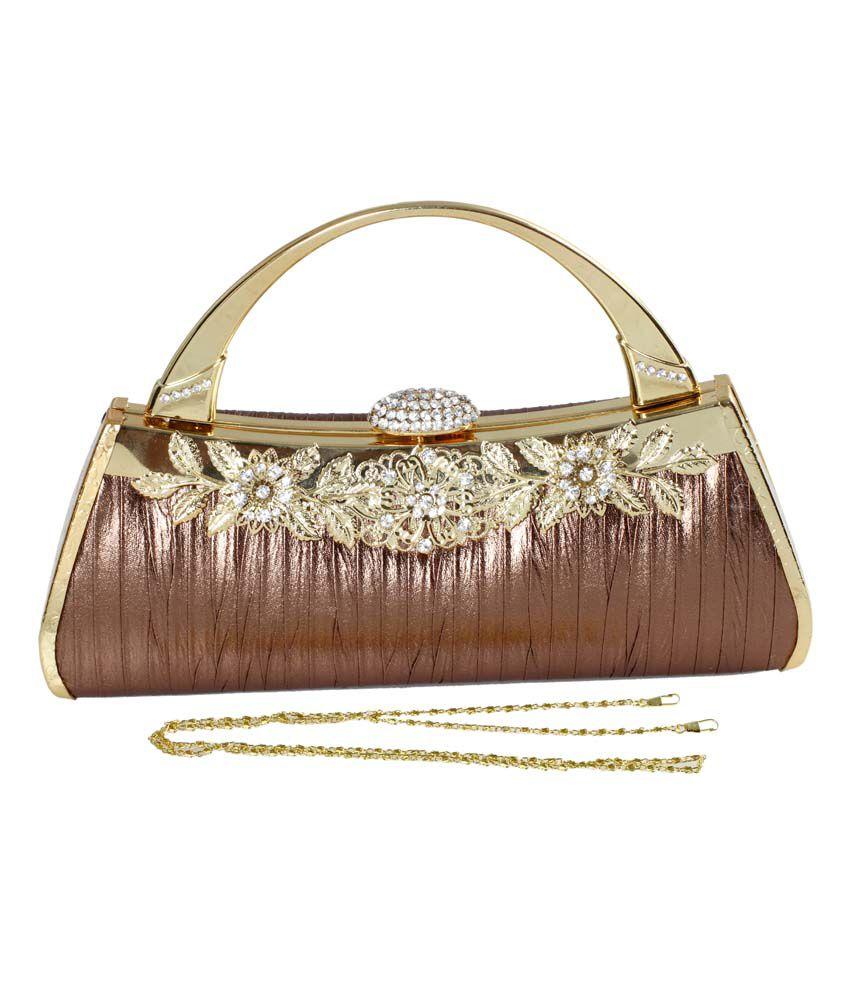 Classique Designer Wedding & Party Copper Gold Clutch Bag