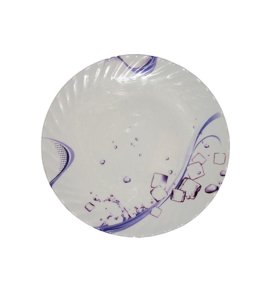 Samzan White  amp; Blue Melamine Opal Half Plates Water Print  6 Pc