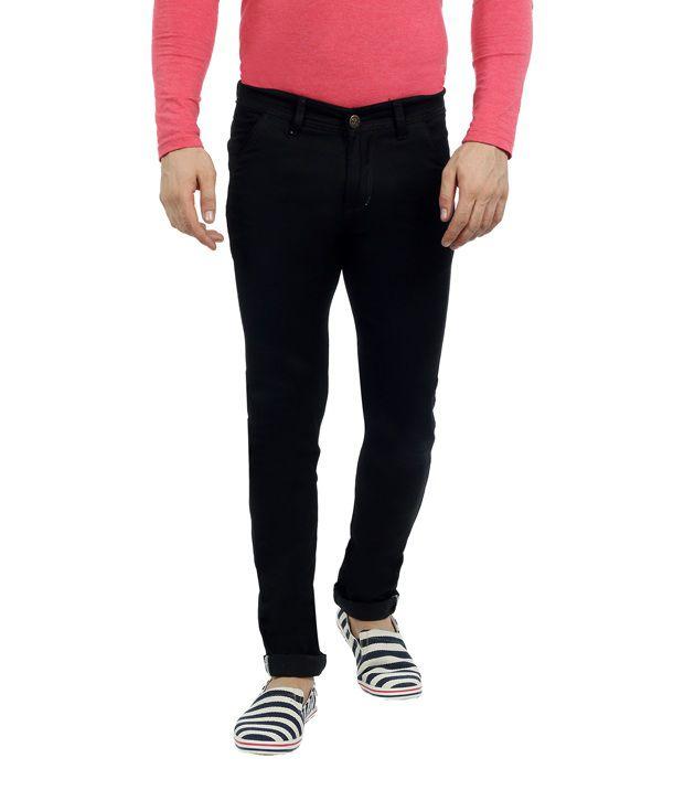 Sloper Black Cotton Blend Slim Fit Jeans for Men