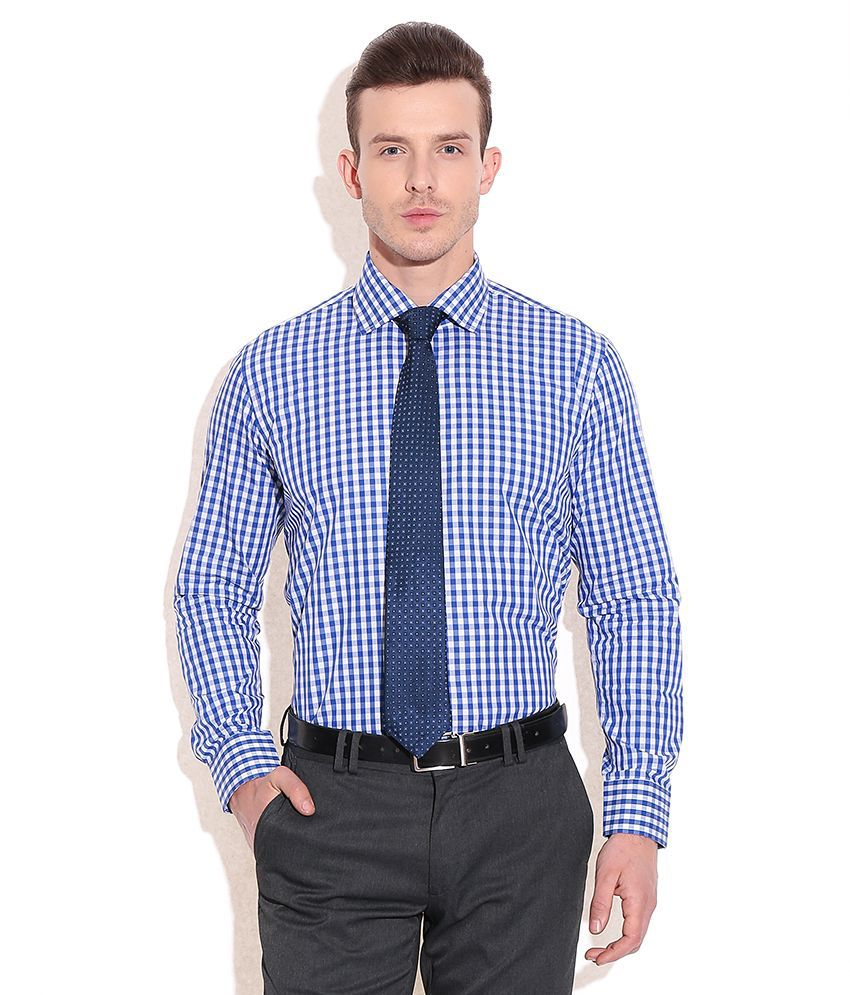 Tie rack london blue check shirt with blue tie set of 2 for Where to buy a dress shirt