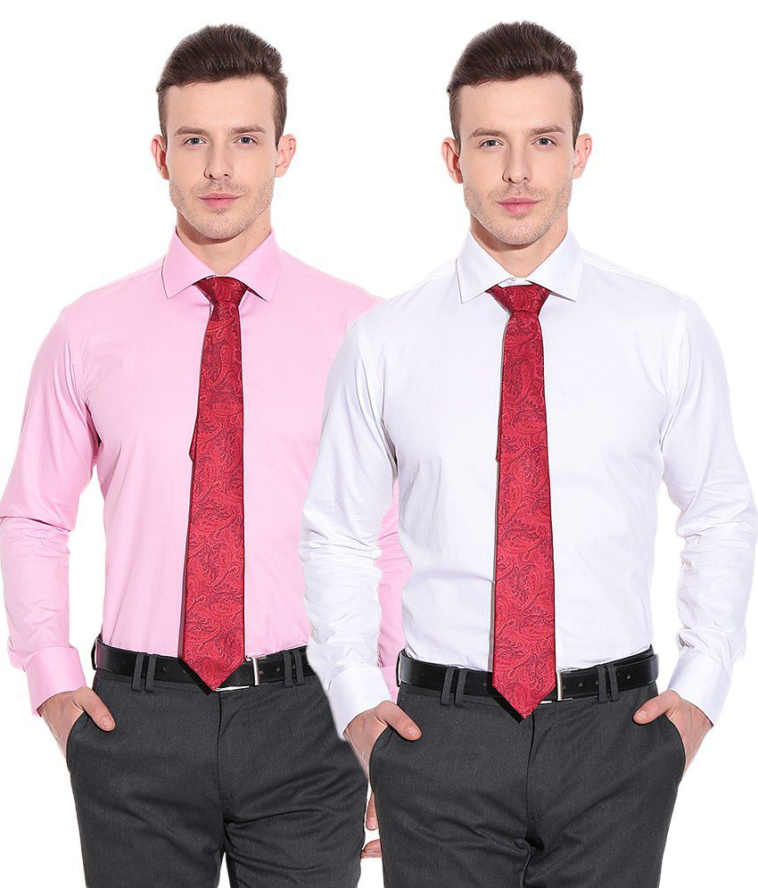 Tie Rack London White and Pink Shirt with Red Tie (Set of 3) - Buy ...