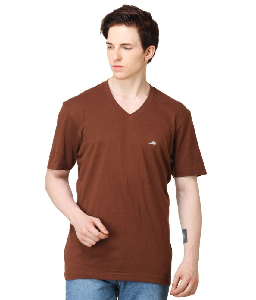 2go Brown Cotton V-neck Men T Shirt