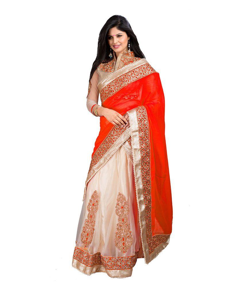 Aarna's Collection Orange Chiffon Saree