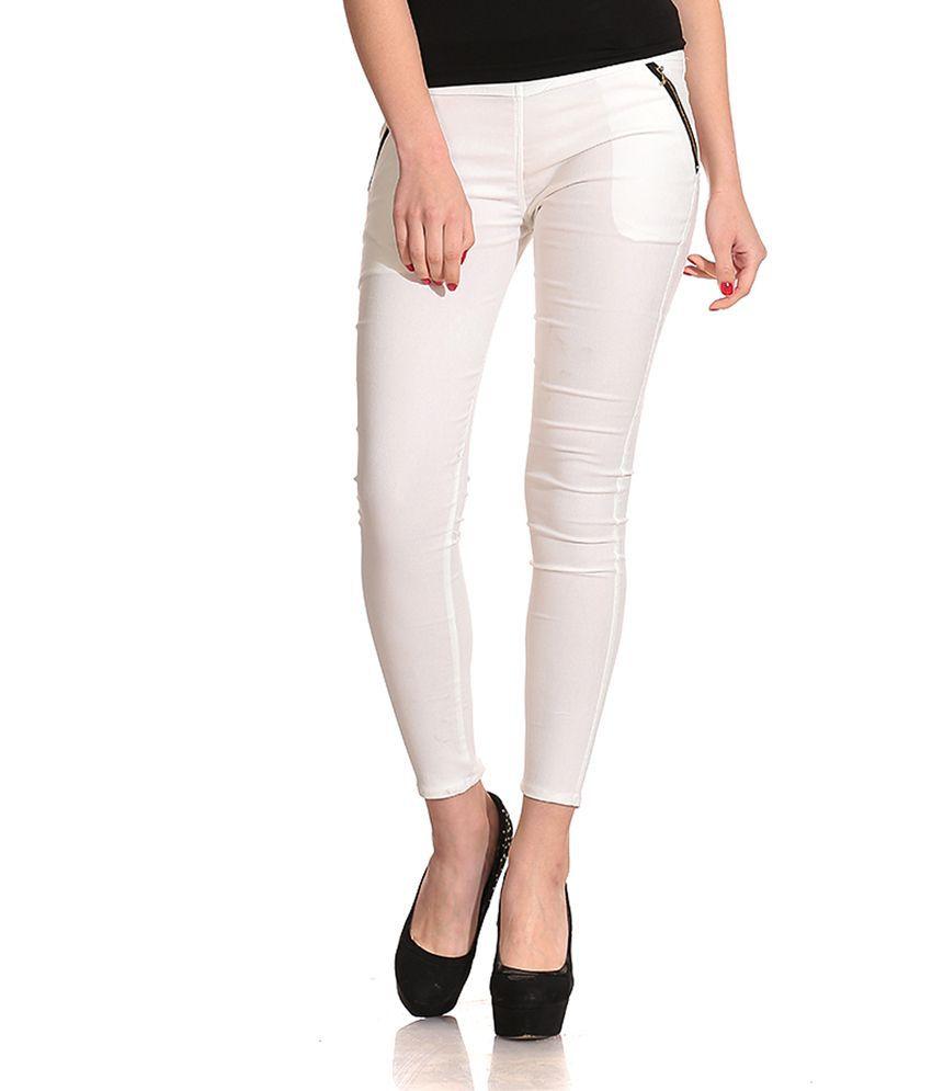 Concepts White Cotton Lycra Jeggings