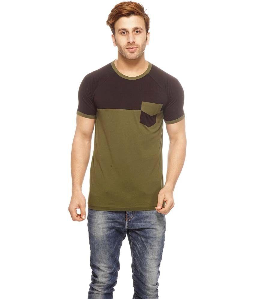 Gritstones Black Cotton Half Sleeves Round Neck T-Shirt