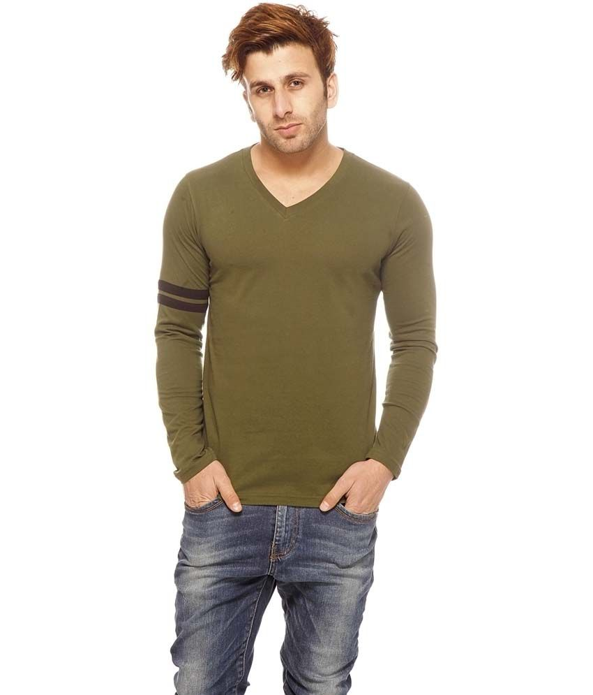 Gritstones Green Cotton Full Sleeves Round Neck T-Shirt