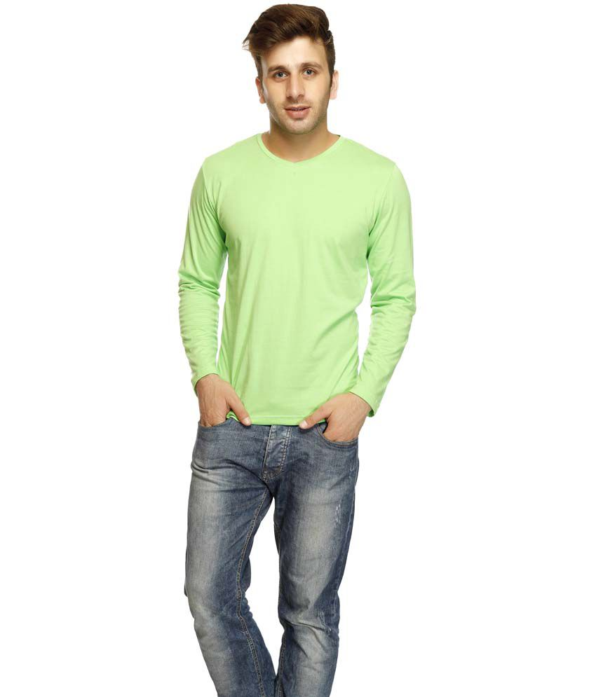 Gritstones Green Cotton Full Sleeves V-Neck T-Shirt