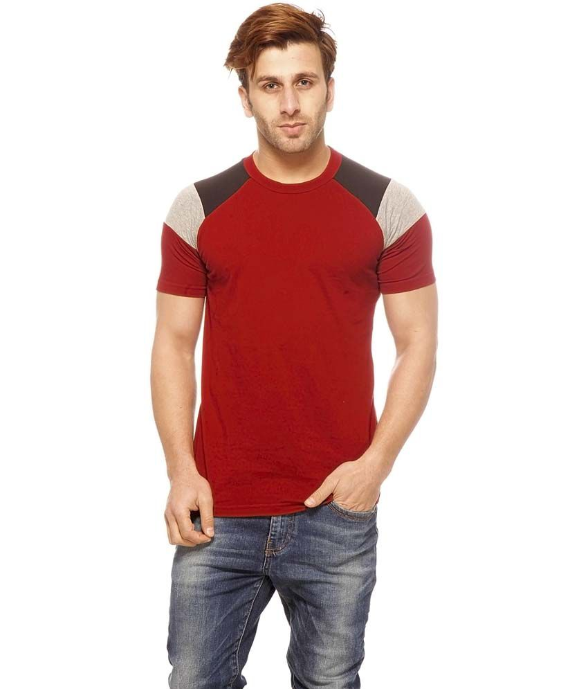 Gritstones Maroon Cotton Half Sleeves Round Neck T-Shirt