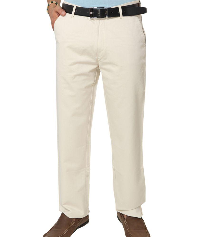 Klix Jeans Beige Cotton Regular Fit Chinos