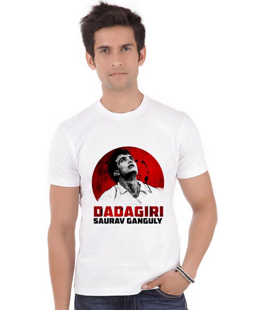 Shopmantra White Polyester Saurav Ganguly Dadagiri T-shirt