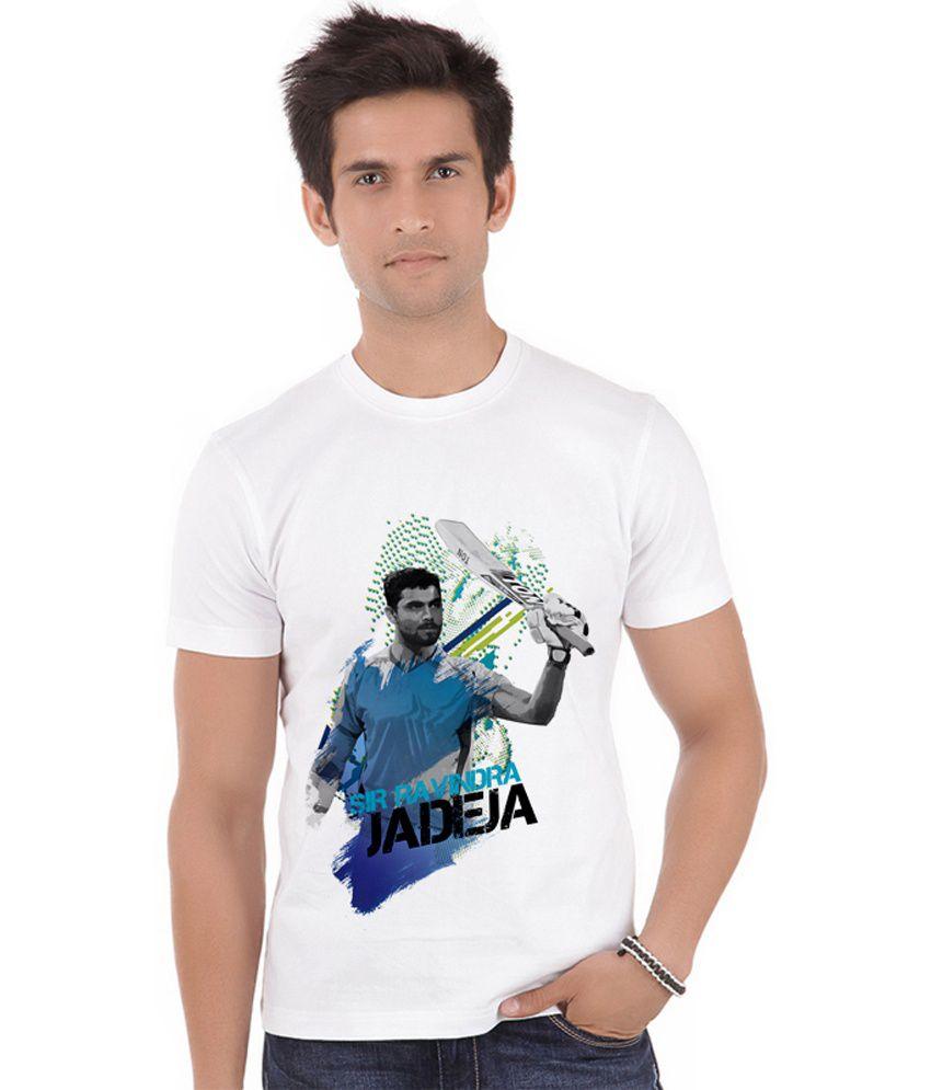 Shopmantra White Polyester Sir Ravindra Jadeja Century T-shirt