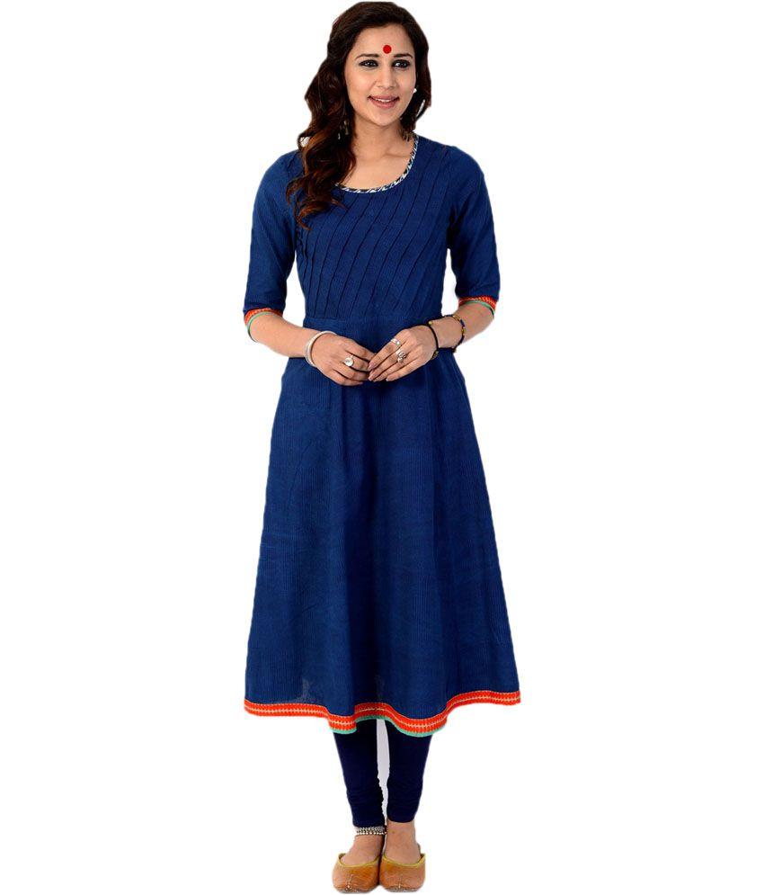Aana Blue Cotton Printed Round Neck Kurti