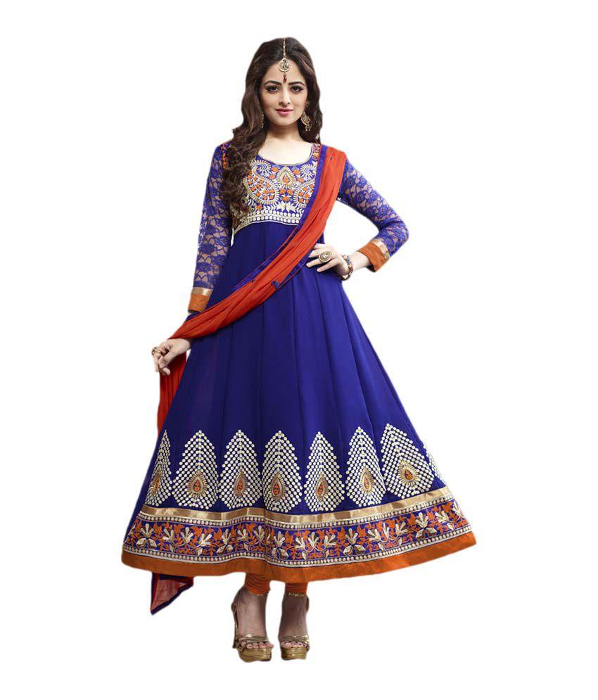 Anshika Lifestyle Blue Faux Georgette Unstitched Dress ...
