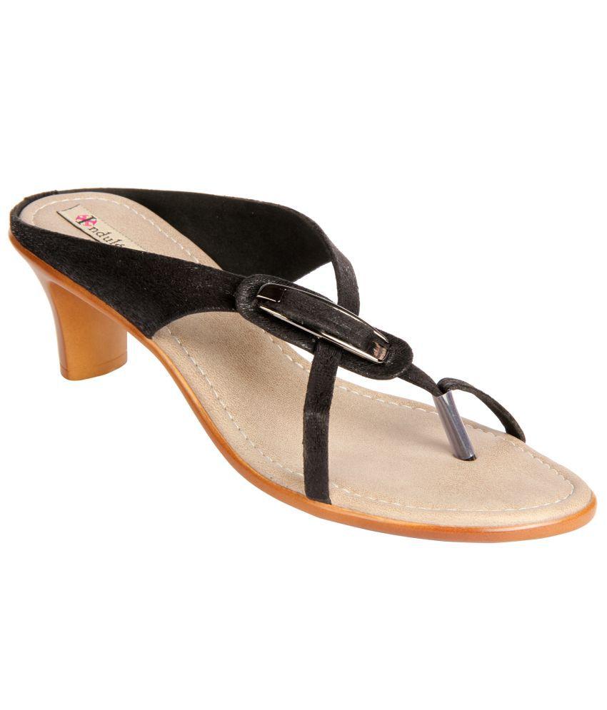 Indulgence Black Faux Leather Heeled Sandal
