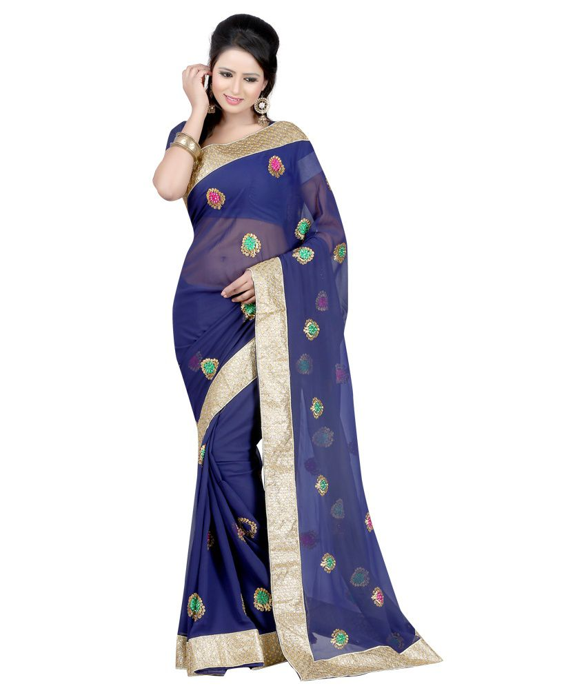 JK BROTHERS Blue Faux Georgette Saree