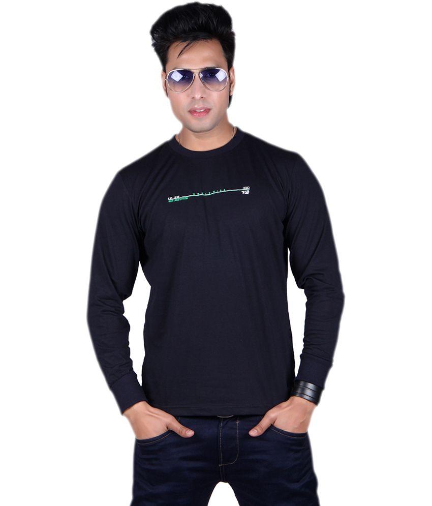 Vivid Bharti Navy Cotton Round Neck Printed T-shirt