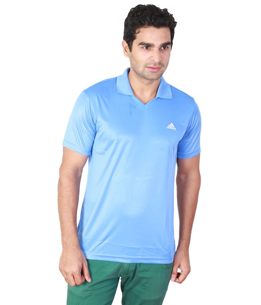 Adidas Blue Cotton Half Sleeved Polo T-Shirts