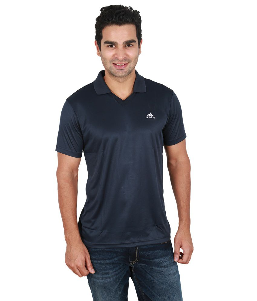 Adidas Blue Polyester Half Sleeved Polo T-Shirts