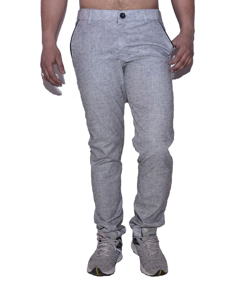 Fashion Rocks White Slim Cotton Trouser