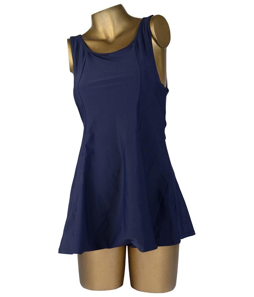 Indraprastha Navy Blue Plain Swimsuit/ Swimming Costume