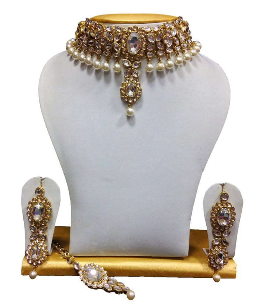 ShinningDiva Charming Bridal Necklace Set With Maang Tika