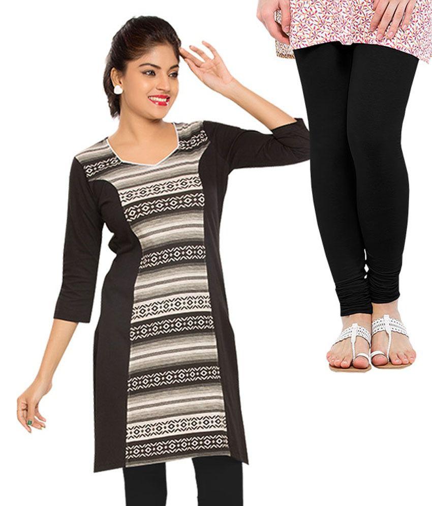 Softwear Black Cotton Round Neck Long Kurti With Legging