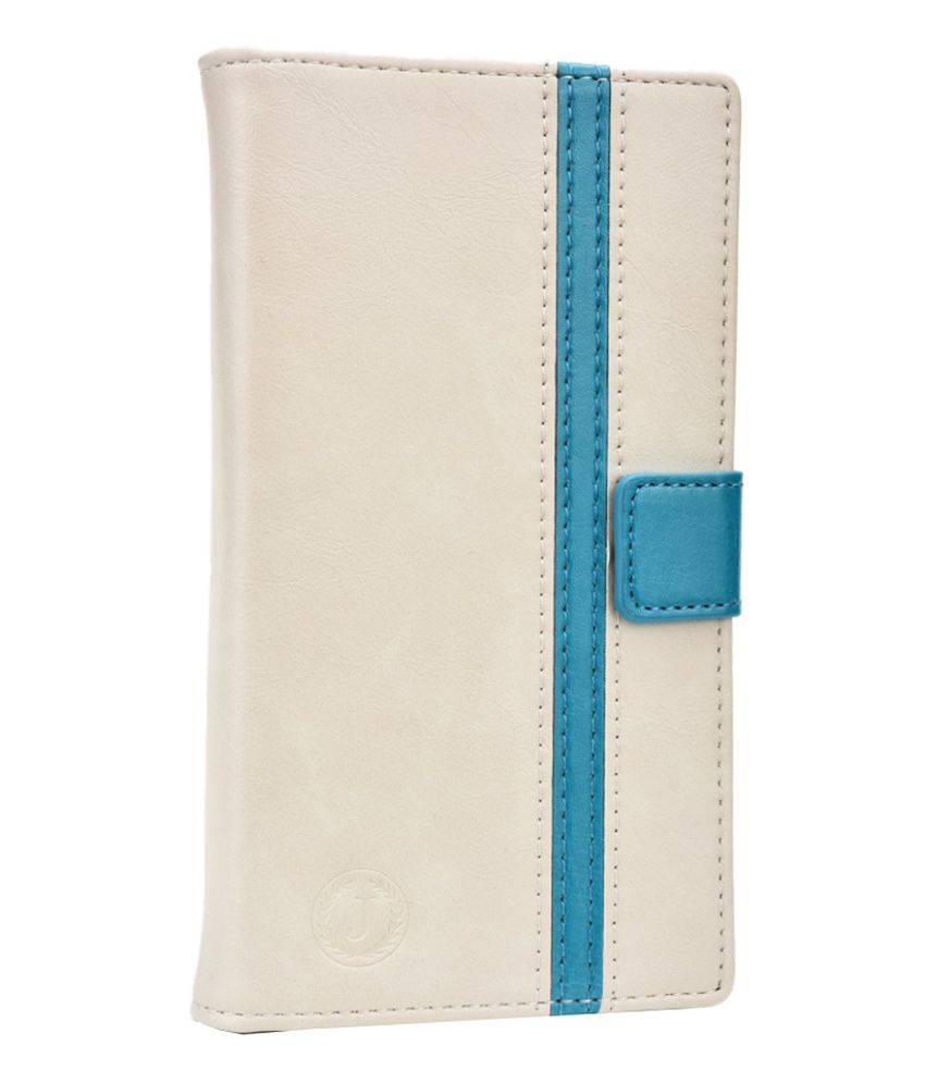 Jo Jo Pluto Series Leather Flip Cover for HTC One (E8) - White and Light Blue