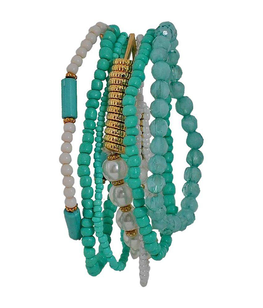 Maayra Classic Blue & Gold Alloy Bracelet