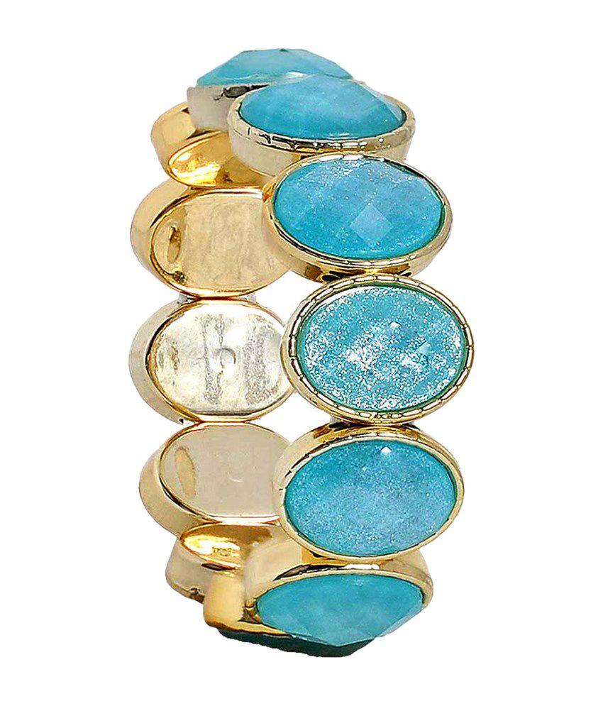 Maayra Fashionable Blue & Gold Alloy Bracelet