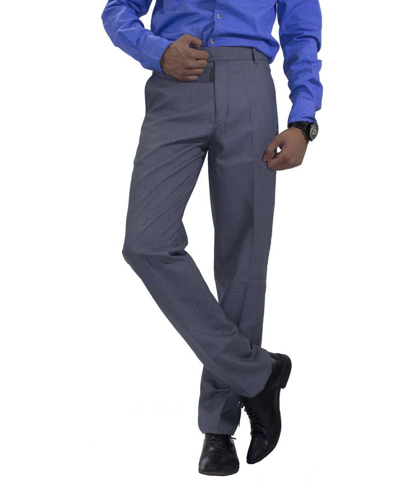 American-Elm Basic Formal Trousers For Men - Gray
