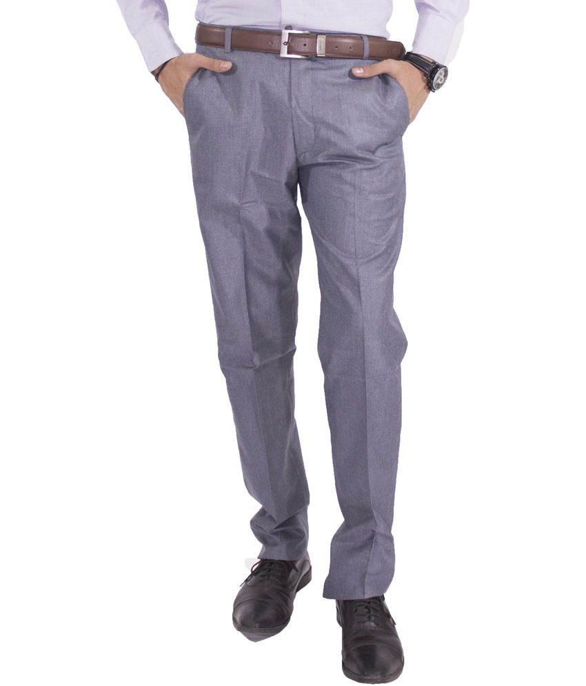 American-Elm Basic Formal Trousers For Men - Gray