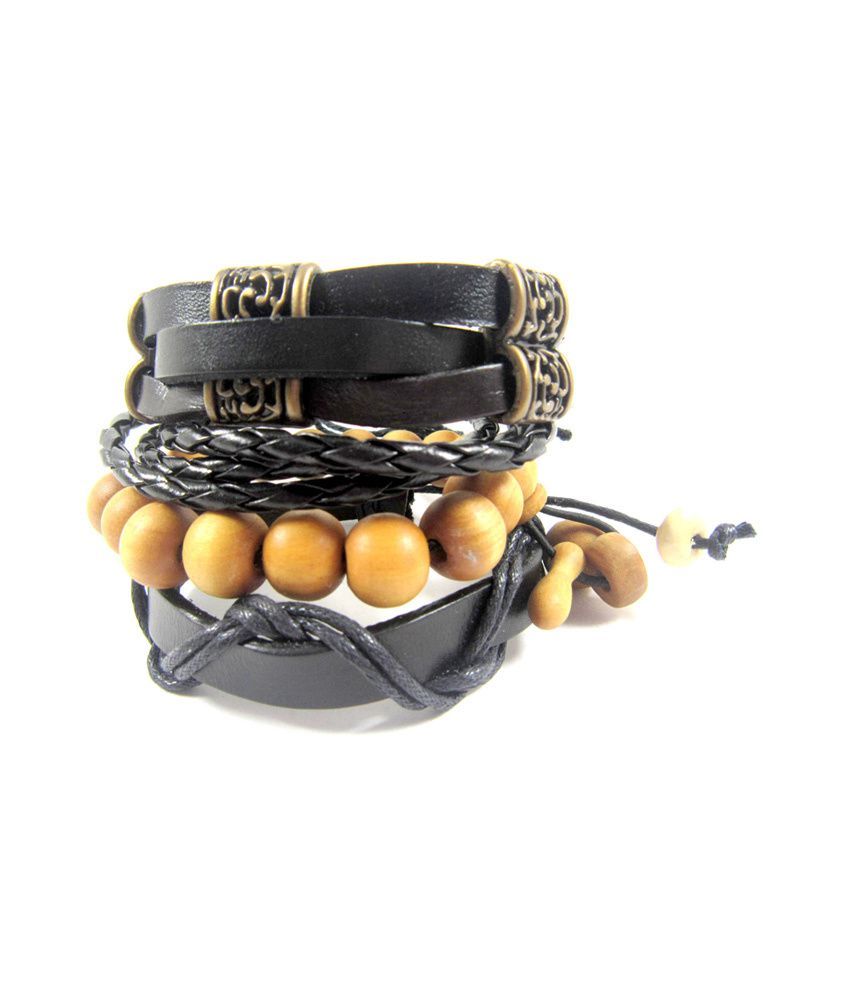 Streetsoul Pure Leather Black Wrist Band Value Pack For Men