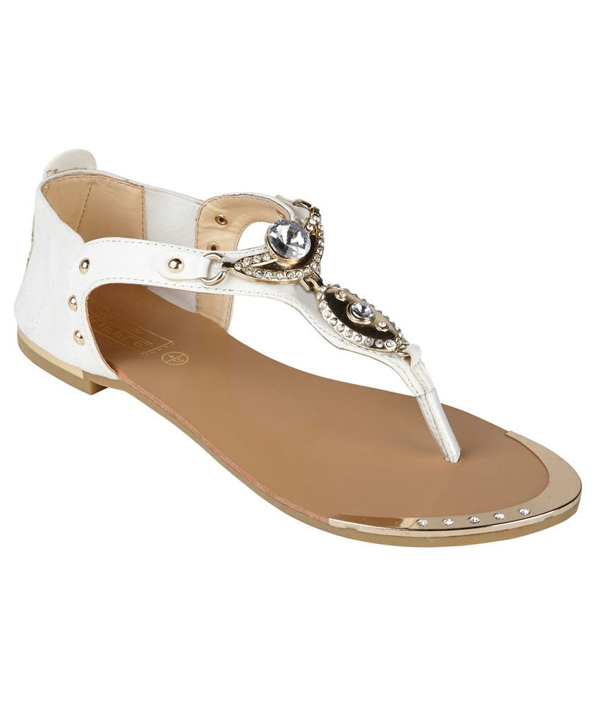 Truffle Collection White Faux Leather Flat Sandal