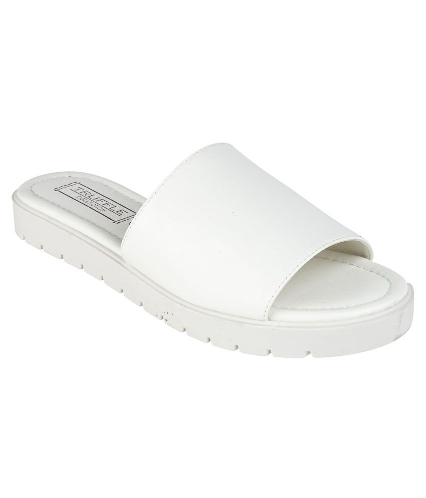 Truffle Collection White Faux Leather Flat Slip On