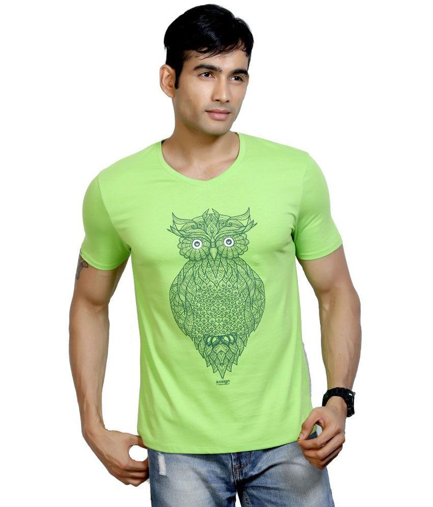 Dc Green Cotton Half Sleeves V-Neck T Shirt