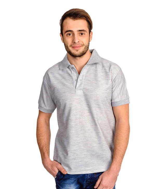 Ave gray basics cotton half sleeves men polo t shirt buy for Full sleeve polo t shirts