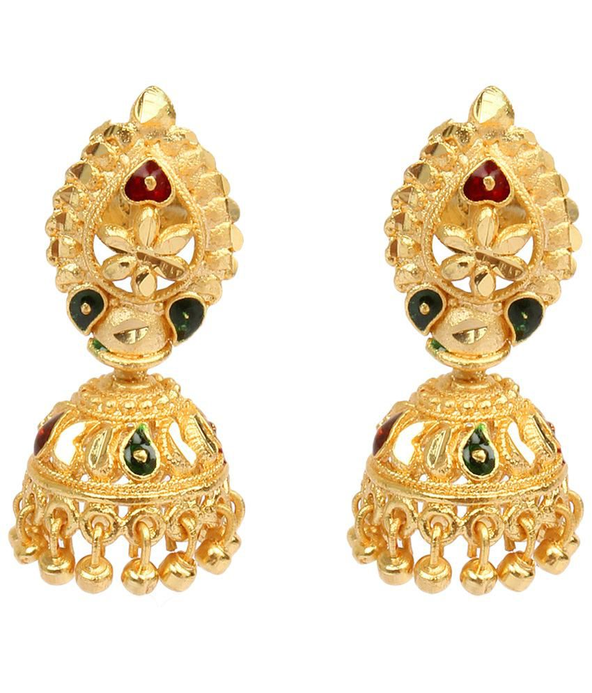 Dee Gee Alluring Gold Finish Jhumkis