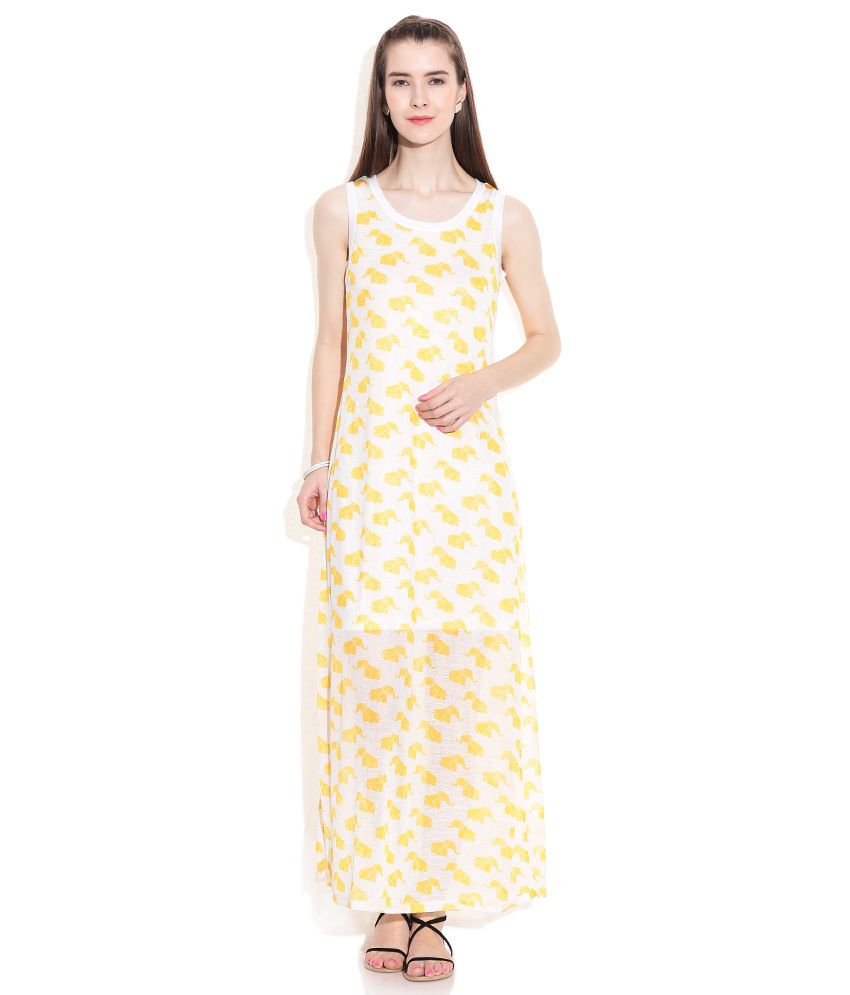 c4325062fa4 Global Desi Yellow Polyester Maxi Dress - Buy Global Desi Yellow Polyester  Maxi Dress Online at Best Prices in India on Snapdeal