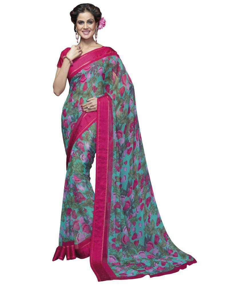 Manvaa Multicoloured Georgette Saree