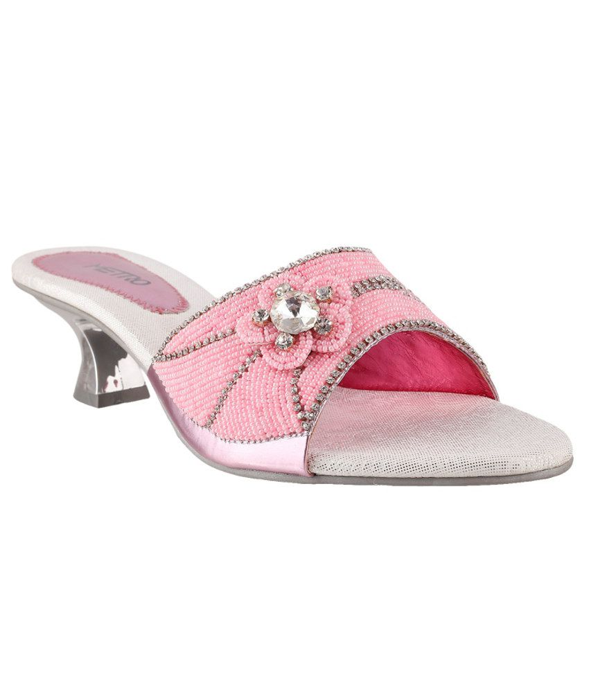 Metro Attractive Pink Heeled Slip-ons
