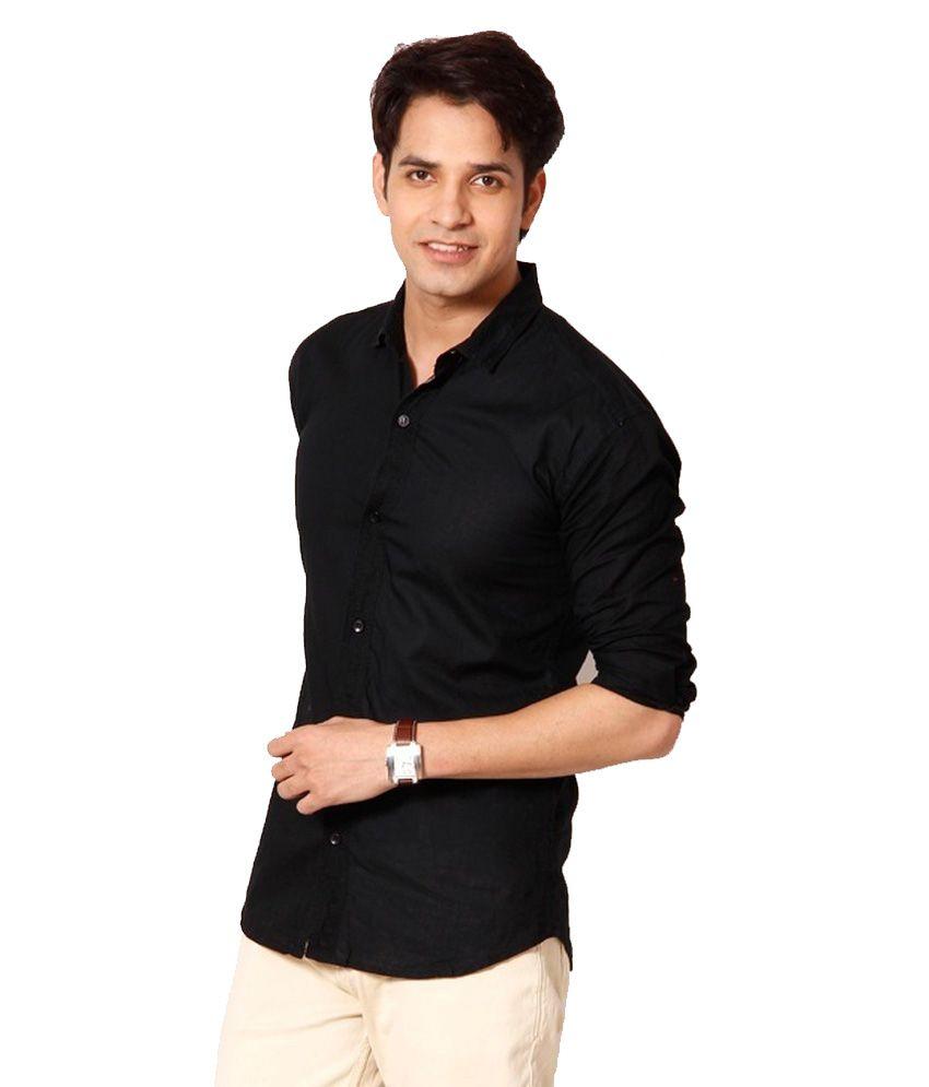 Mof Black Cotton Blend Slim Fit Full Sleeves Casual Shirt - Buy ...