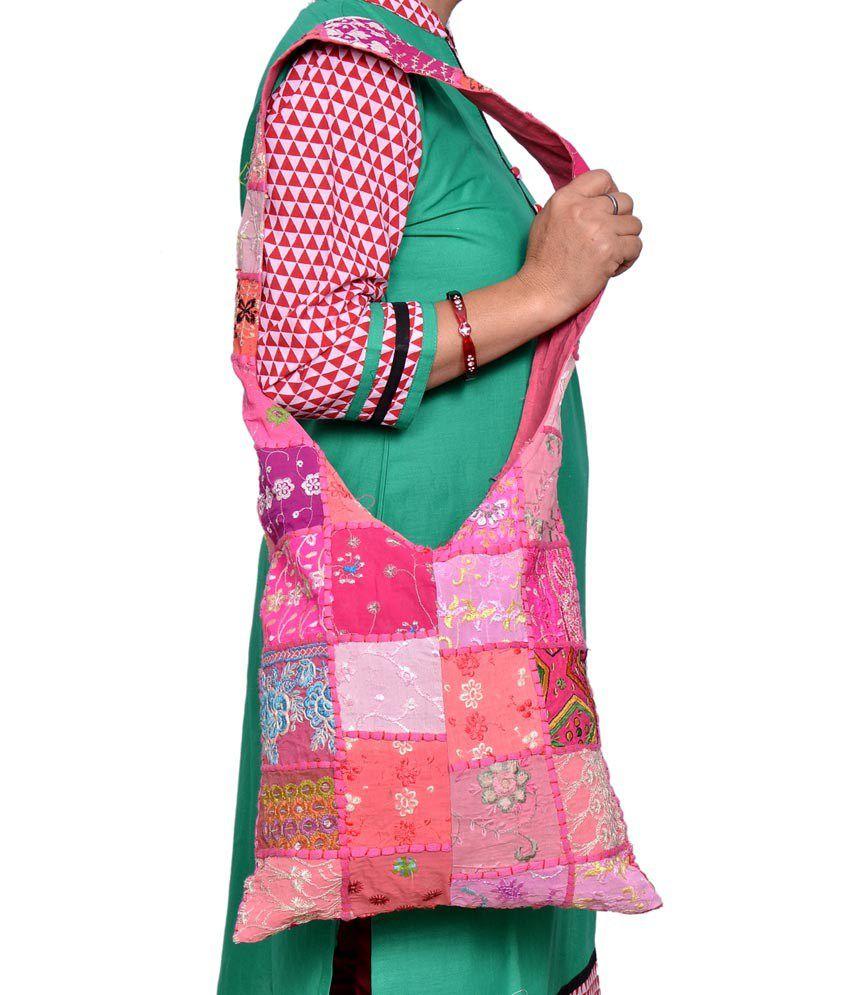Urban Style Pink Canvas Cloth Rajasthani Jholas