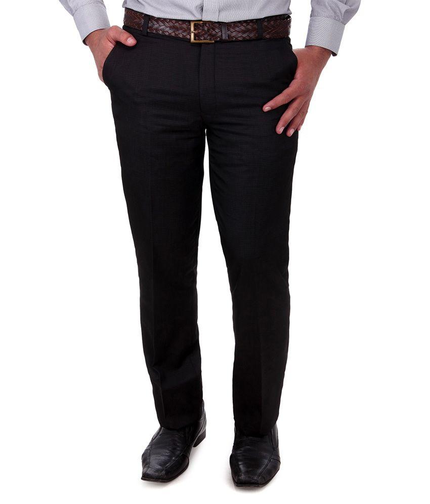 Cobb Black Cotton Blend Slim Fit Formal Trouser