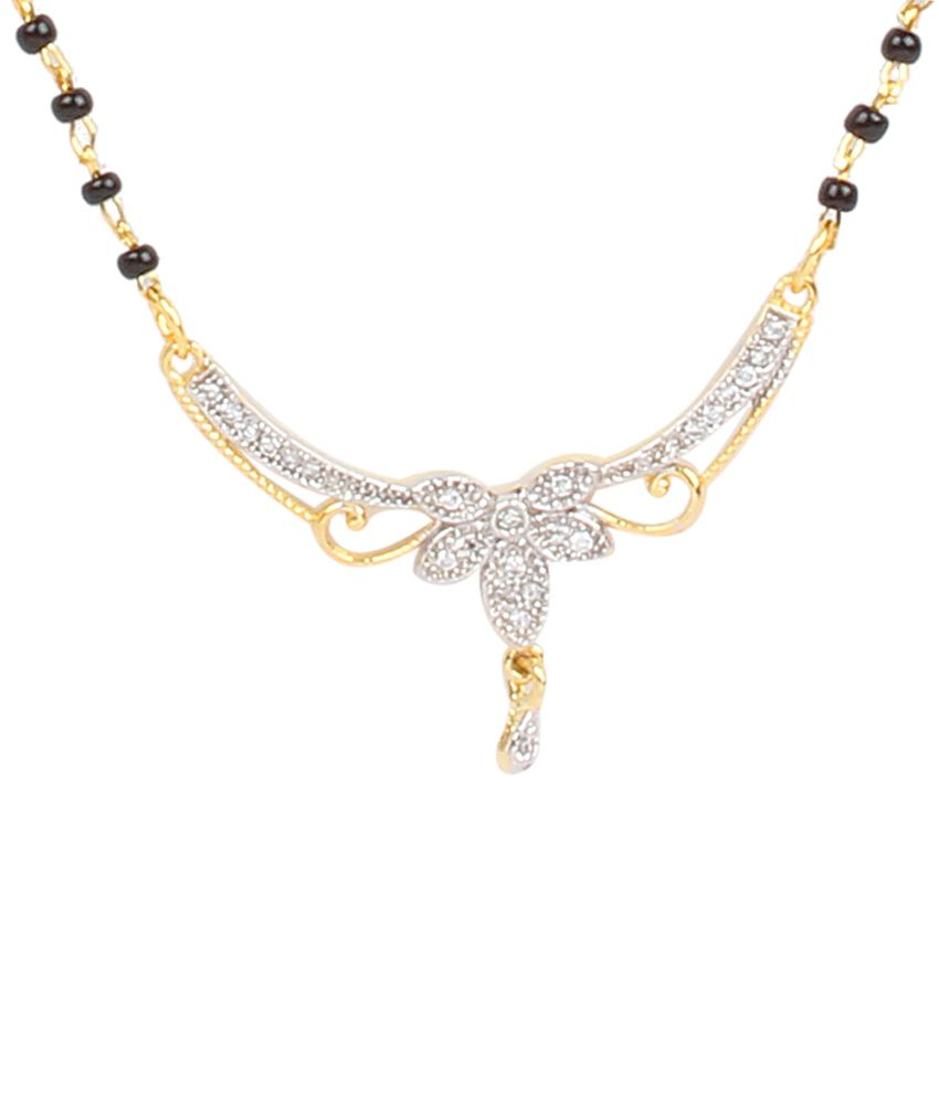 Dee Gee Exclusive Black & Silver American Diamond Traditional Mangalsutra Set