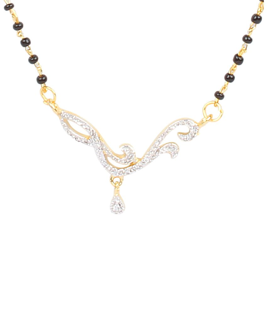Dee Gee Shining Black & Silver American Diamond Traditional Mangalsutra Set