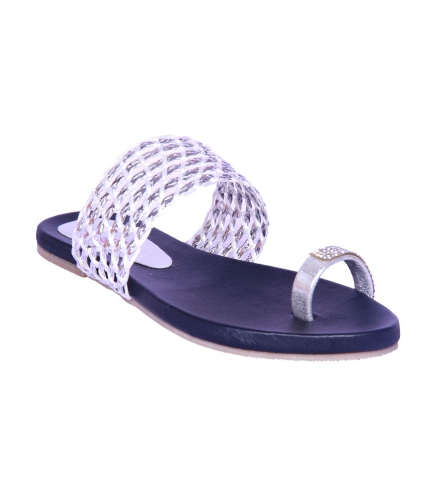 Foot Step Silver Faux Leather Ethnic Flats