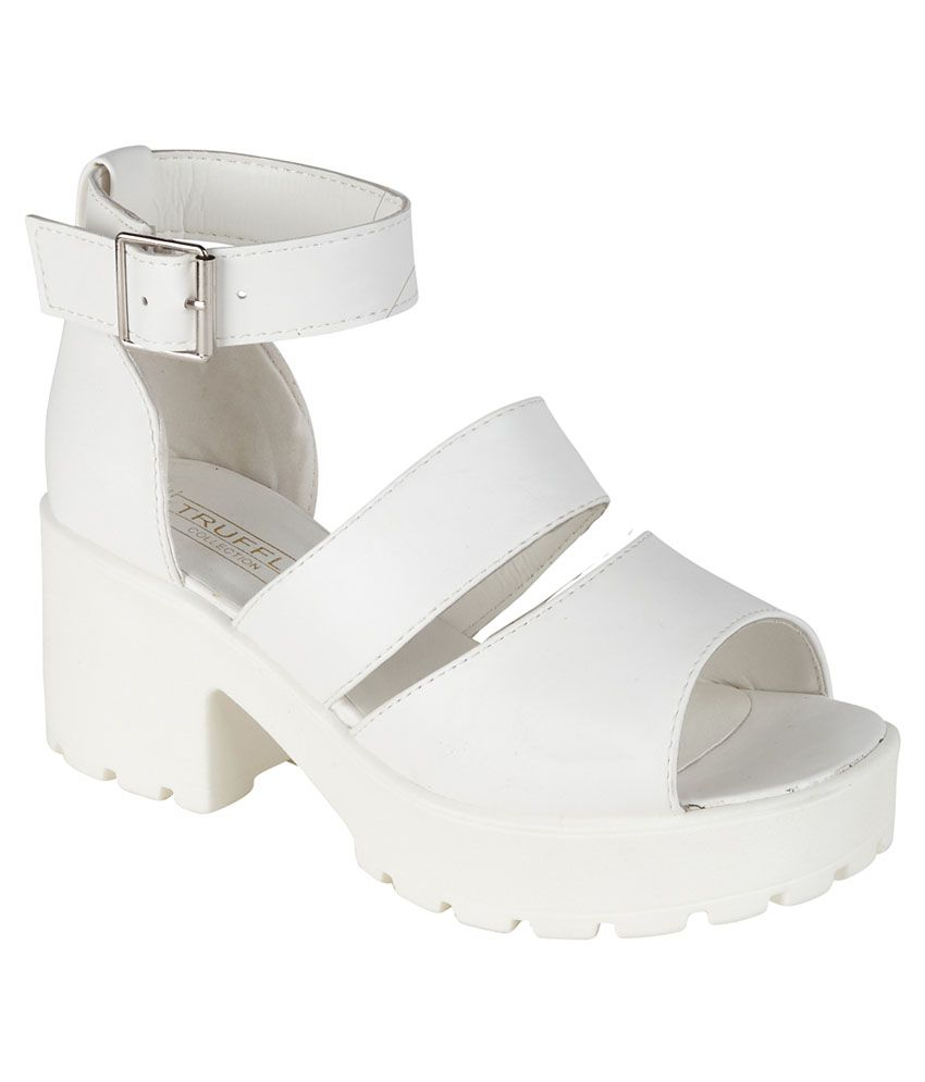 Truffle Collection White Faux Leather Heeled Sandal