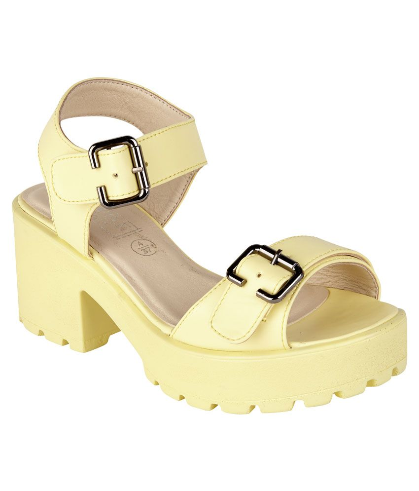 Truffle Collection Yellow Faux Leather Heeled Sandal