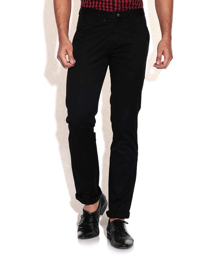 Arrow Sports Black Slim Fit Casual Trousers
